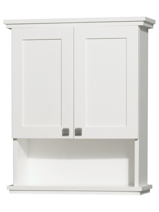 Wyndham Collection - Acclaim Solid Oak Bathroom Wall-Mounted Storage Cabinet in White - The Acclaim wall cabinet, completely original and part of the Wyndham Collection Designer Series by Christopher Grubb, is a great way to add a little storage space to your bathroom oasis. This ergonomic and elegant wall cabinet is designed to be placed over the toilet or used as extra wall storage just where you need it most. Brushed chrome hardware accents complete the look and compliment the entire Acclaim line.