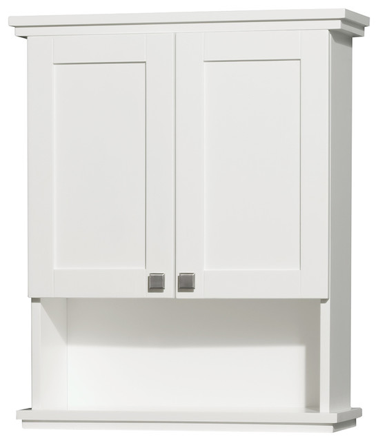 Acclaim Solid Oak Bathroom Wall-Mounted Storage Cabinet in White - Transitional - Bathroom ...