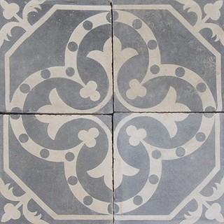 Cement tile transitional wall floor tiles other for Blue and white cement tile
