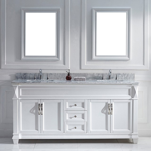 Virtu Usa Victoria 72 Inch White Double Sink Vanity Set Contemporary Bathroom Vanities And