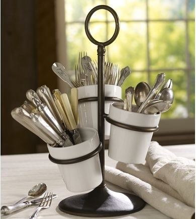 Rhodes utensil caddy traditional by pottery barn for Vertical silverware organizer