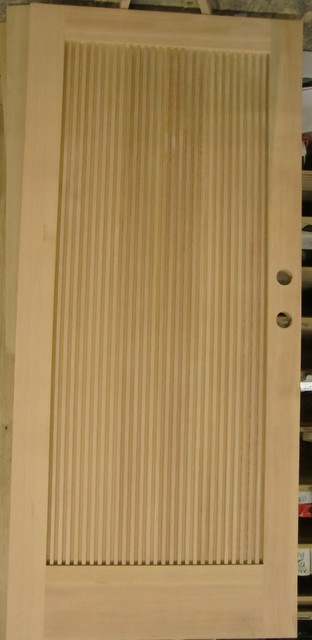 Solid VG Fir 1 Panel Reeded modern-front-doors