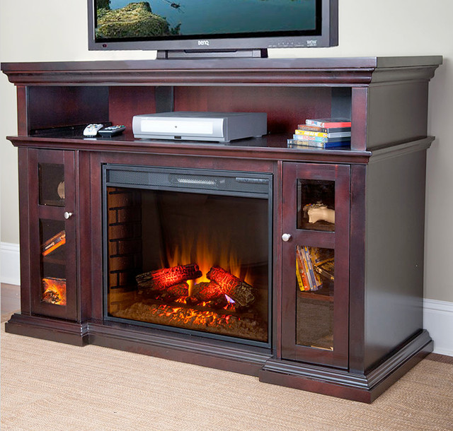 Pasadena Electric Fireplace Entertainment Center In Brown Espresso 28mm468 E72 Traditional
