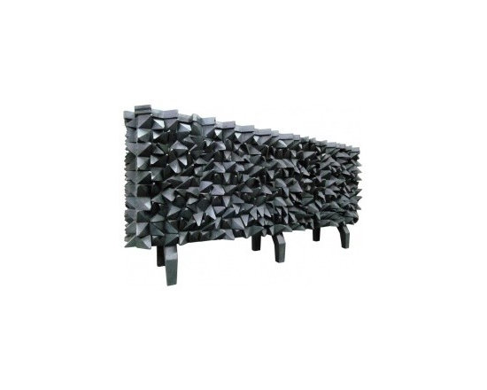 """Eco Friendly Furnture and Lighting - Spectacular """"Spike"""" Sideboard, R. Mapache.USA 2000 Spectacular """"Spike"""" Sideboard, Signed R. Mapache. All natural wood cabinet with A dramtic flat black fininsh, with Bold cubiste inspiration, 3 dimentional volume, 2 pairs of folding front doors, clean parsons lines, a Spoutnik feeling explosion. Exceptional design and texture. A Sculptural utilitarian cabinet. Wonderful option to a console or buffet. Plenty of storage Amazing detail of top, which follows the lines of the sipkes."""