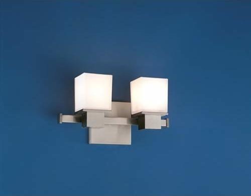 Milford Satin Nickel Two-Light Bath Fixture contemporary-bathroom-vanity-lighting