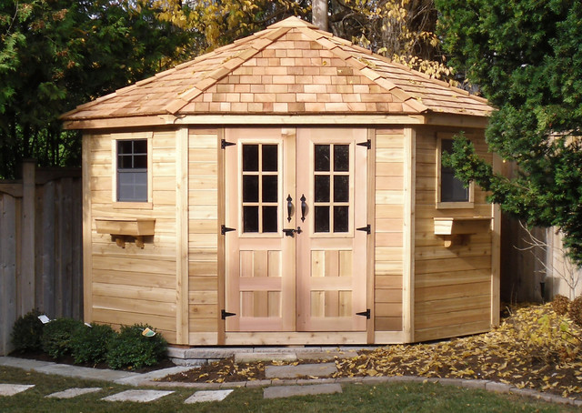 Penthouse garden shed 9x9 cedar garden shed for Garden shed pictures