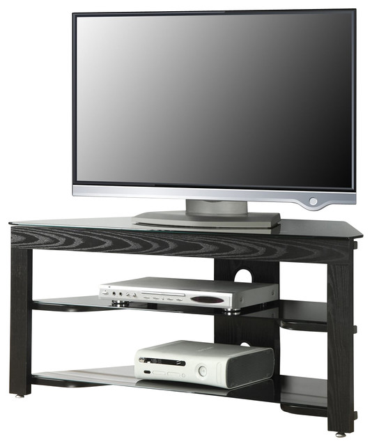 Convenience Concepts Classic Glass Wood and BLACK Glass TV Stand X-LB10-VT - Traditional ...