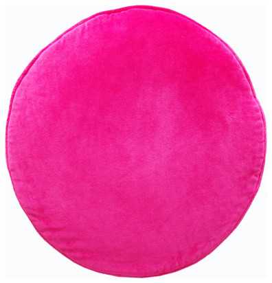 Pink Velvet Penny Round Cushion Cover contemporary-decorative-pillows