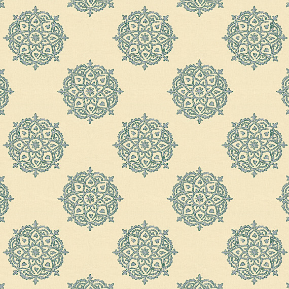 Blue Medallion Block Print Fabric eclectic-upholstery-fabric