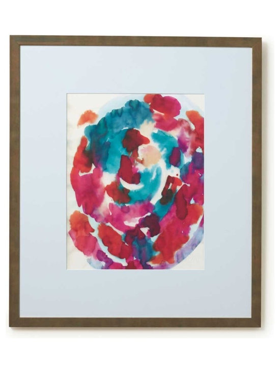 Viva Terra - Spiral, by Felicia Atkinson - Limited edition, watercolor print on Somerset watercolor paper. A richly pigmented abstract watercolor conjuring a sense of infinite movement as it explores texture in hues of red and blue- greens. The work is embossed and framed in hand-treated Italian framing with white beveled matte and glass. 28�W x 32�L x 2�D