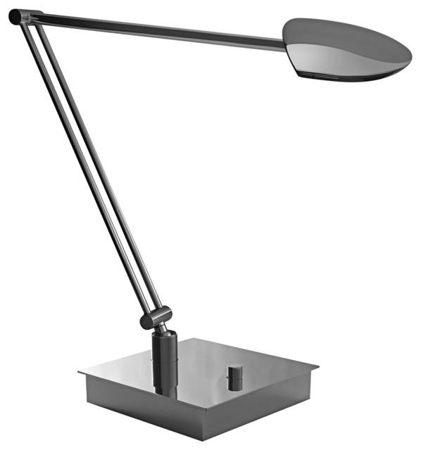 Mondoluz Pelle Angle Chromium Square Base LED Desk Lamp contemporary-table-lamps