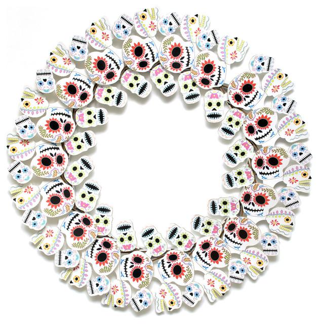 Dia de los Muertos Wreath, Multi modern-wreaths-and-garlands