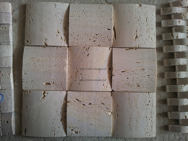 Three dimensional tile 3d travertine mosaic backsplash for Dimensional tile backsplash