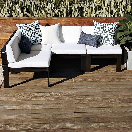 Wood Slat Sectional Modern Outdoor Sofas By West Elm