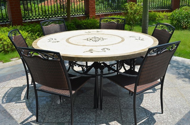 """63"""" Round Stone Outdoor Marble Mosaic Dining Table"""