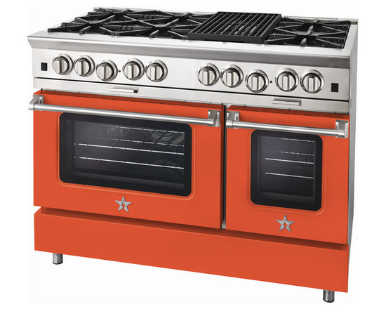 "BlueStar Platinum Series: 48"" Range - 48"" BlueStar Platinum Range in Salmon Orange (RAL 2012)"