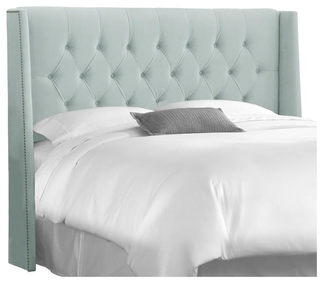 u0026quot;Skyline Furniture King Diamond Tufted Wingback Headboard, Velvet Poolu0026quot; - Modern - Headboards ...