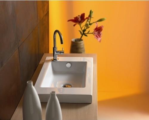 Serie 35 Ceramic Bathroom Sink with Overflow modern-bathroom-sinks