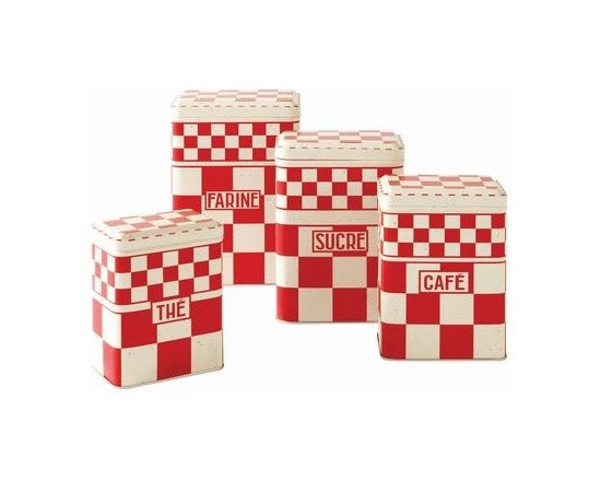 Red or Blue Checked Cannister Set -