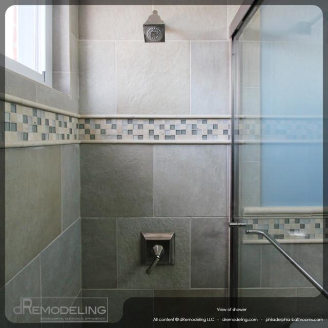 Cool neutral toned walk in shower tiling detail for Bathroom tile philadelphia