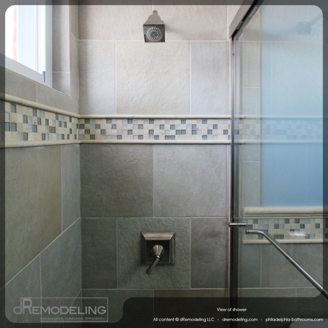 Cool Neutral Toned Walk In Shower Tiling Detail