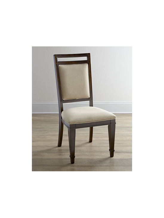 """Horchow - Two """"Paulette"""" Side Chairs - With tapered feet and neutral upholstery, these dining chairs bring traditional style to casual dining. Handcrafted of hardwood solids, walnut veneers, and laminated lumber. Medium-brown walnut finish. Padded seats and backs. Sold in pairs; each, 20..."""