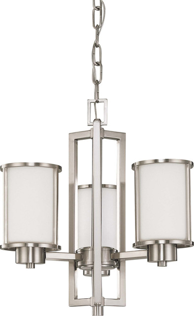 Nuvo Lighting 60-3805 Odeon ES 3-Light Chandelier with White Glass transitional-chandeliers