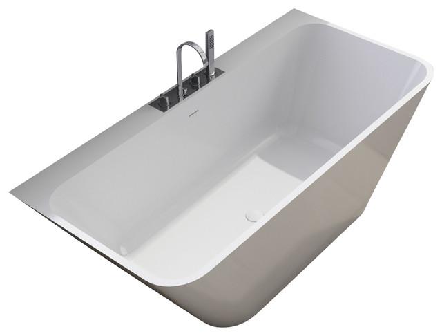 Stand alone resin bathtub matte contemporary bathtubs for Modern stand alone bathtubs