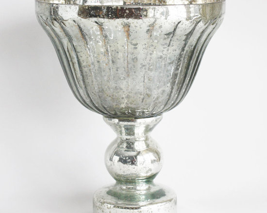 Large Pedestal Bowl - Add instant style to your tabletop with the Large Pedestal Bowl. Stunning on its own, the antique silver mercury glass finish makes a perfect compliment to any floral arrangement.