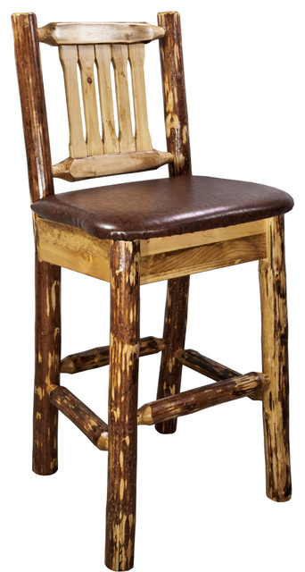 Glacier Country Barstool With Back Upholstered Seat