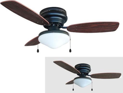 "Oil Rubbed Bronze 42"" Hugger Ceiling Fan w Light Kit"