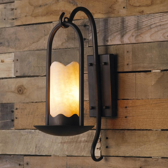 Iron Candle Holder Wall Sconce : Iron Branches Stone Candle Sconce - Lamp Shades - by Shades of Light
