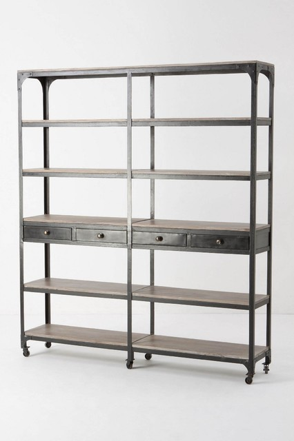 Decker Double Bookcase, Tall industrial-bookcases