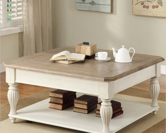 Country Living - Riverside Furniture Coventry Two Tone Cocktail Table in Dover White