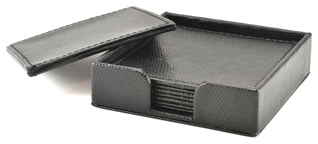 Reversible Black Snakeskin 4-piece Faux Leather Coaster Set (Set of 4) contemporary-wine-and-bar-tools
