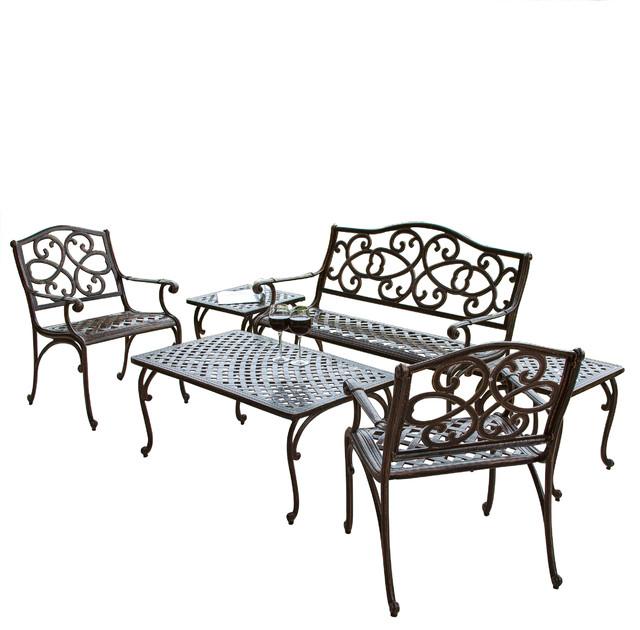 Augusta 6 Piece Outdoor Cast Aluminum Seating Set Contemporary Patio Furn