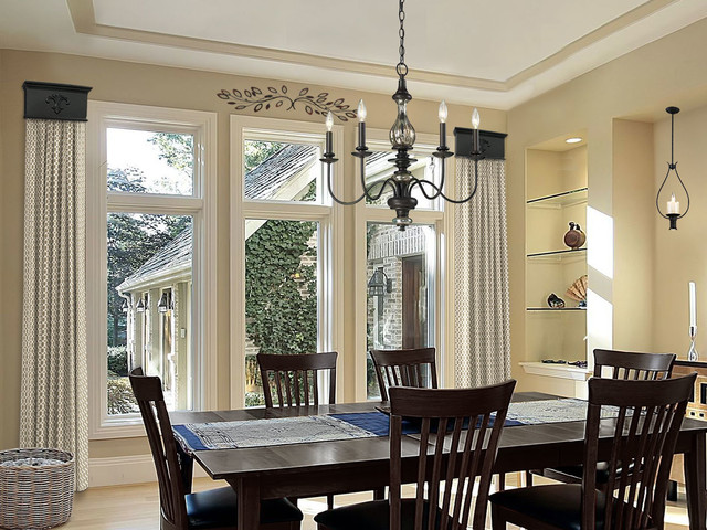 Cornice window treatments dining room for Dining room windows