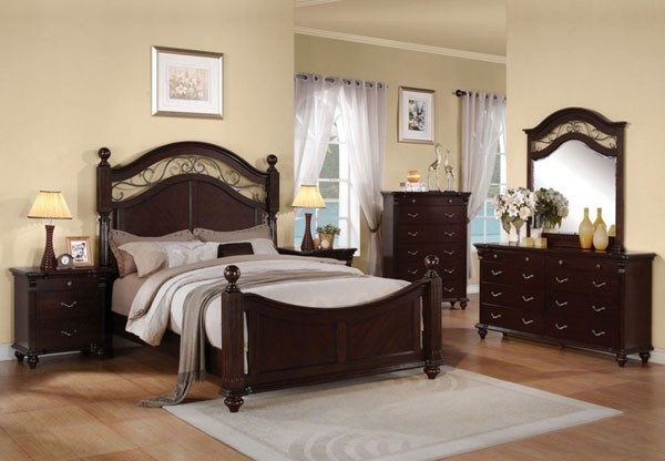 Furniture Cleveland Dark Cherry Finish 5 Piece Queen Bedroom Set