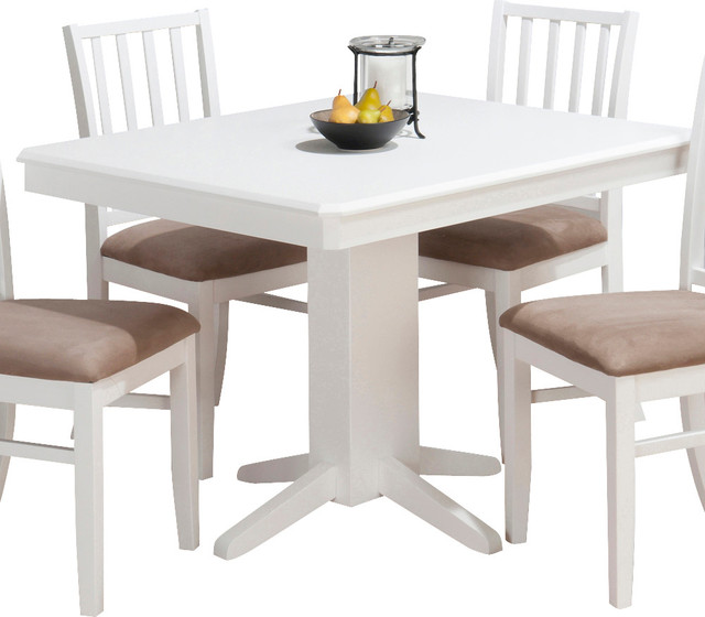 Jofran aspen rectangle pedestal dining table in white for Rectangular dining tables for small spaces