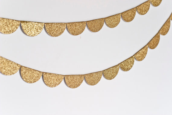 Scalloped Glitter Garland, Gold by Steph Loves Ben contemporary accessories and decor