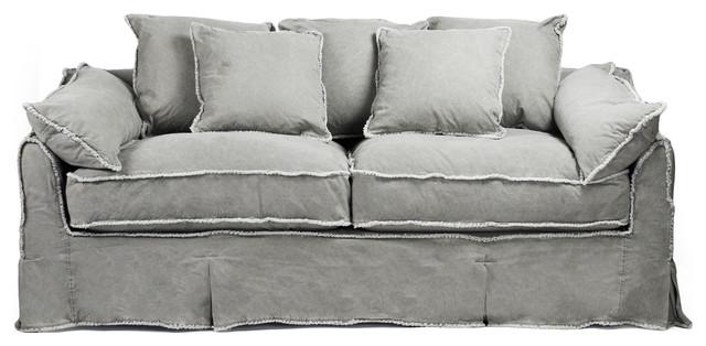 Kelvin Stonewash Canvas Fog Cottage Style 3 Seat Sofa