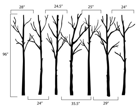 Dana Decals - Winter Trees Wall Decal - Dark Brown Winter Leafless Trees. Ideal for homes, kids rooms, and schools.