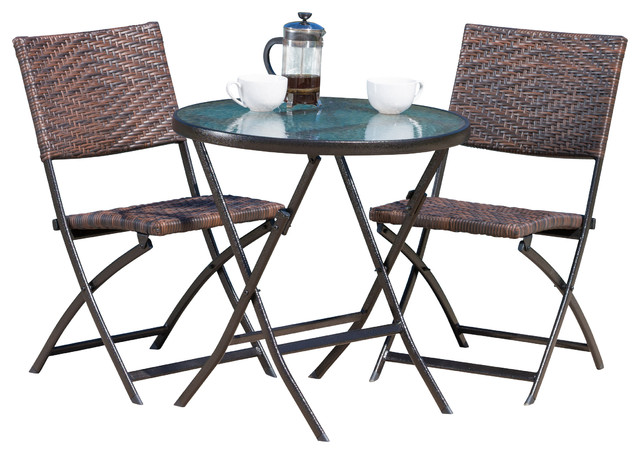 Cantinela 3pc Outdoor Wicker Folding Bistro Set Contemporary Outdoor Pub