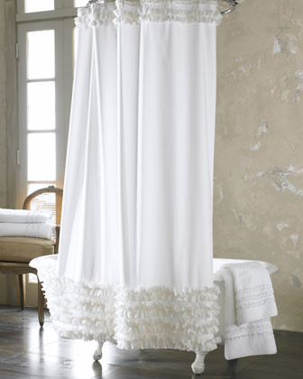 Ann Gish White Ruffled Shower Curtain traditional shower curtains