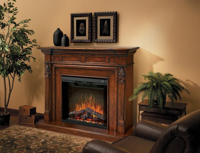 Torchiere Burnished Walnut Electric Fireplace Mantel Package - SEP-BW-4217-FB traditional-indoor-fireplaces