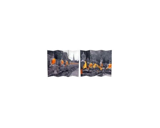 Functional Art/Photography Printed on a 6ft Folding Screen - 6 panels black and white photographic with gold hight lights of Buddha statues, printed on a 6ft decorative folding screen