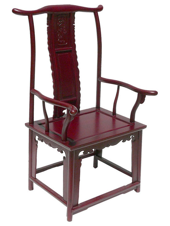 Dark Red Chinese Ming Style Rosewood Yoke-Back Arm Chair - This is Yoke-back arm chair with protruding end that is made of HuaLi is also called rose wood. The high yoke-back chair with protruding ends and arms, commonly referred to as the official's hat chair, is the most successful of Chinese chair designs and one of the earliest styles to emerge. Its sweeping lines of the chair, including the exaggerated arches of the top crest rail and the C-curved back splats, create a sense of movement. Its very profile suggests a more distinctive role in the Chinese home: to receive guests in the mail hall or to be used by scholars in their studies. Right now, It should be perfect to decorate your living room.