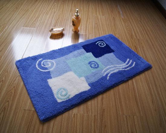 Top Grade Rectangular non-slip Blue Bath Mat Rug -
