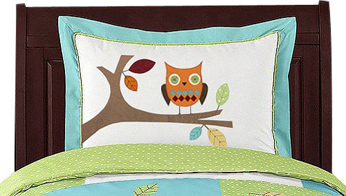 Hooty Turquoise and Lime Pillow Sham by Sweet Jojo Designs traditional-bed-pillows