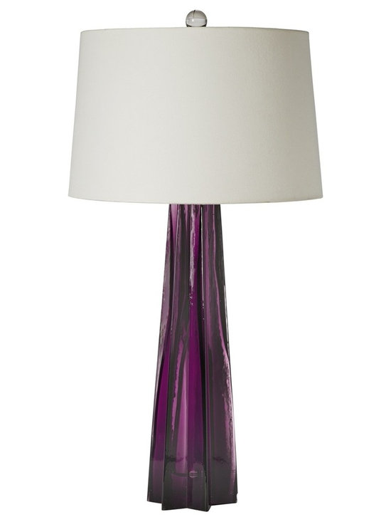 """Regina Andrew - Regina-Andrew Plum Glass Star Table Lamp - A star design in the base creates sharp angles and visual interest in this beautiful table lamp. A deep purple hue perfectly complements the style. From Regina-Andrew. Purple table lamp. Glass construction. Star base design. Maximum 150 watt or equivalent bulb (not included). 3-way switch. Shade measures 14"""" across the top 16"""" across the bottom 10"""" high. 16"""" wide. 31"""" high.   Purple table lamp.  Glass construction.  Star base design.  Maximum 150 watt or equivalent bulb (not included).  3-way switch.  Shade measures 14"""" across the top 16"""" across the bottom 10"""" high.  16"""" wide.  31"""" high."""